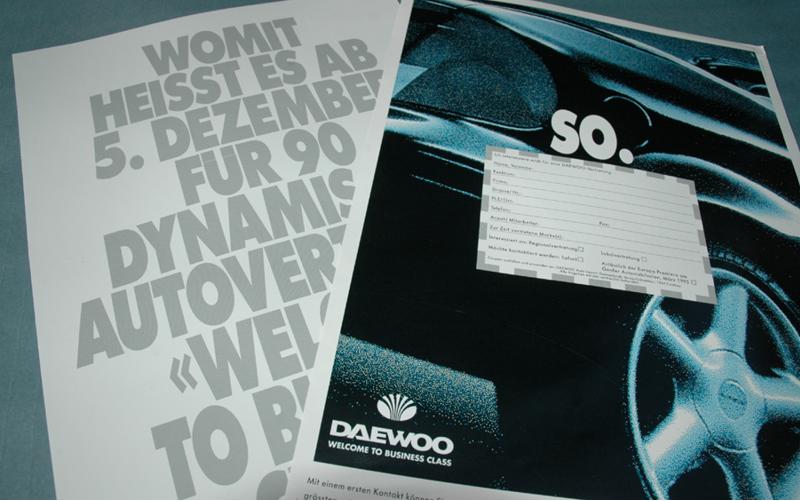 Anzeigengestaltung für Daewoo, Zürich, Schweiz
